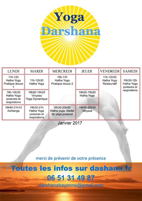 Horaires yoga darshana Bayonne