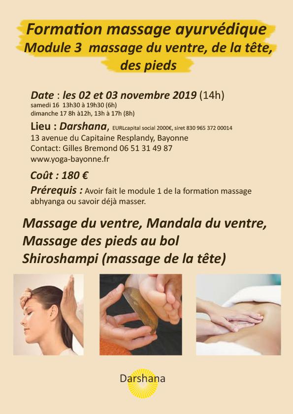 Formation massage ayurvédique_module 3- Massage ayurvédique du ventre, de la tête, et des pieds_2019 11