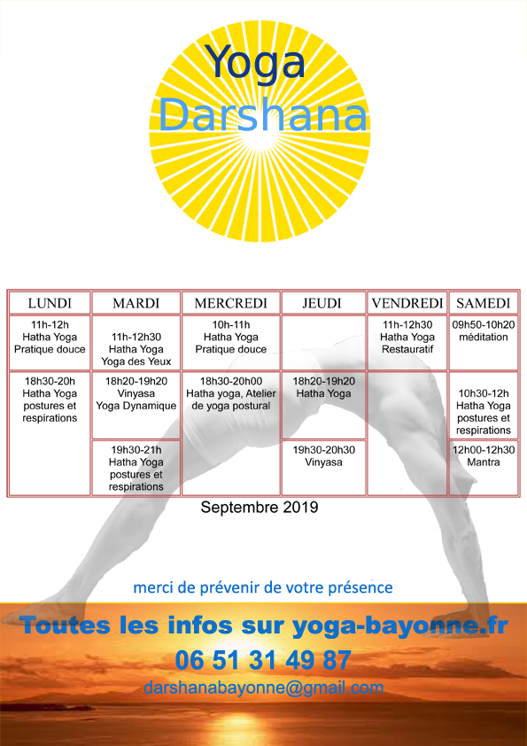 Horaires Yoga Darshana septembre 2019