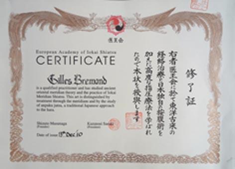 Certification Iokai shiatsu