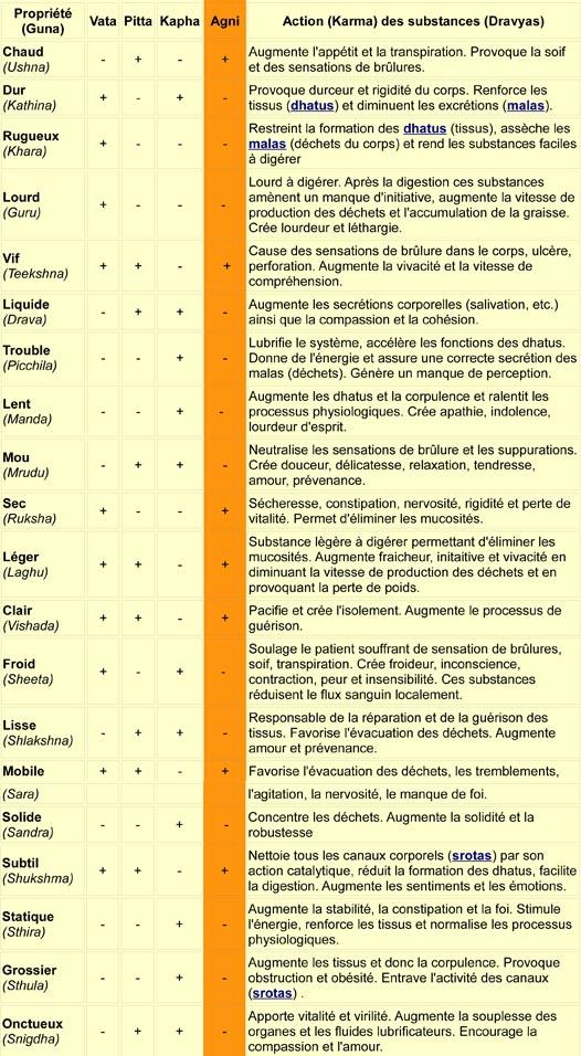 les 20 attributs pour le diagnostic ayurvedique